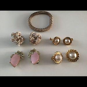 Vintage clip screw earrings and bracelet